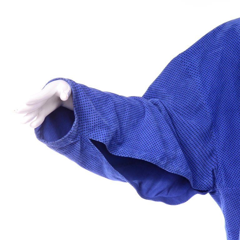 Escada 1980's Blue Suede Asymmetrical Jacket W/ Slits & Skirt  by Margartha Ley For Sale 5