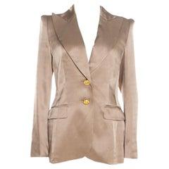 Escada Beige Silk Satin Gold Button Detail Tailored Blazer M