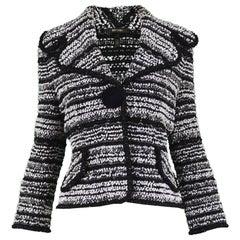 Escada Black White and Silver Lurex Textured Bouclé Tweed Jacket