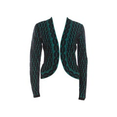 Escada Black and Green Jacquard Knit Open Front Sayakah Cardigan S