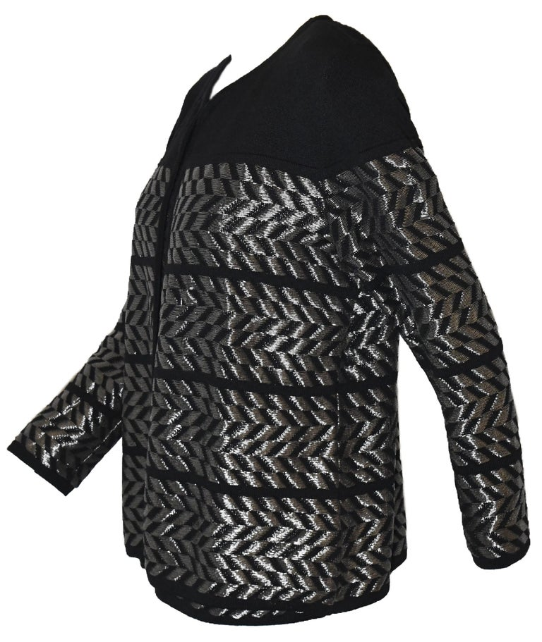 Escada Black and Silver Tone Twin Set, Jacket and Camisole In Excellent Condition For Sale In Palm Beach, FL