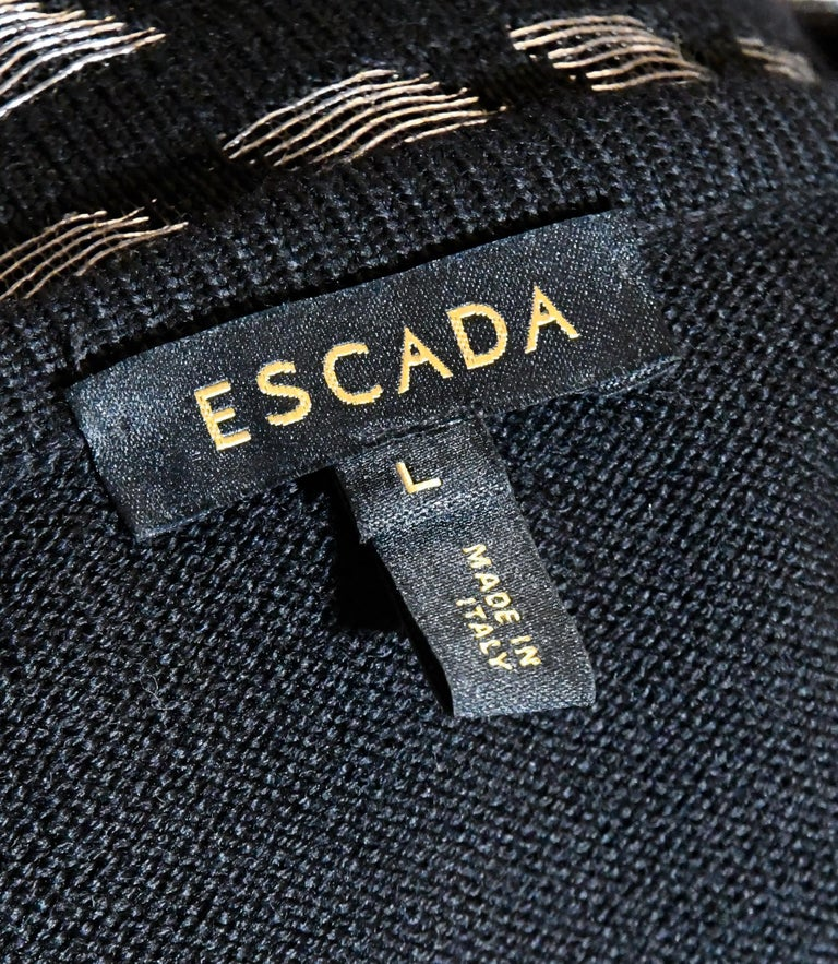 Escada Black and Silver Tone Twin Set, Jacket and Camisole For Sale 2