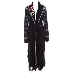 Escada Black Crochet Knit Floral Applique Scalloped Tassel Edge Long Cardigan L