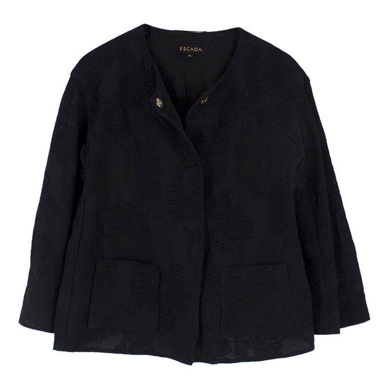 Escada Black Embroidered Silk floral jacket   - Black embroidered body - Single breasted jacket (Hidden fastening) - Light-weight jacket - Rounded neck collar - Long-sleeved - Two front pockets  Please note, these items are pre-owned and may show