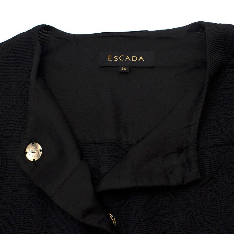 Escada Black Embroidered Silk floral jacket size US 4 In Excellent Condition For Sale In London, GB