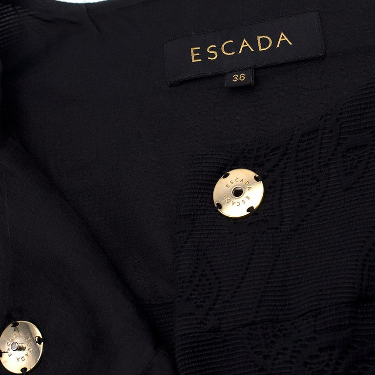 Women's Escada Black Embroidered Silk floral jacket size US 4 For Sale