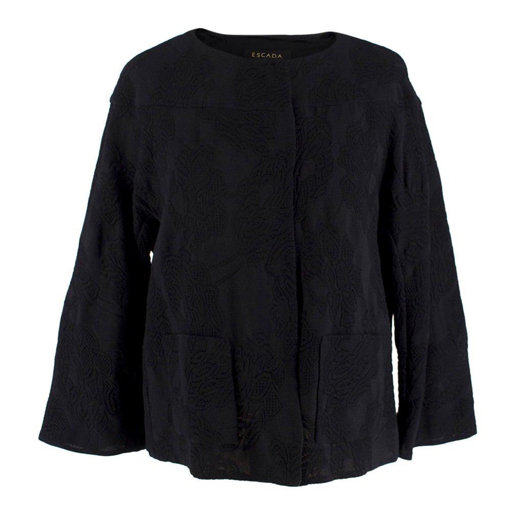 Escada Black Embroidered Silk floral jacket size US 4