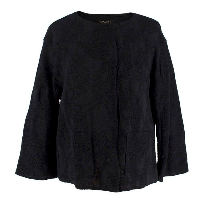 Escada Black Embroidered Silk floral jacket size US 4 For Sale