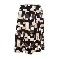 Escada Black Geometric Print Cotton Pleated Skirt L
