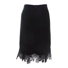 Escada Black Knit Lace Applique Detail Ralace Pencil Skirt L