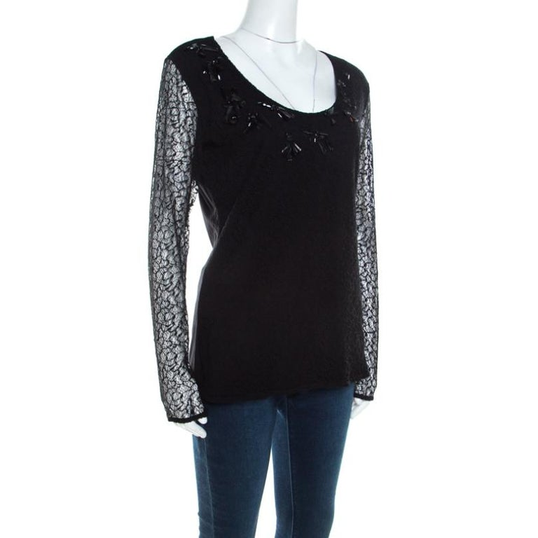 Escada Black Lace Overlay Jersey Crystal Embellished Scoop Neck Erbrou Top M In Excellent Condition For Sale In Dubai, Al Qouz 2