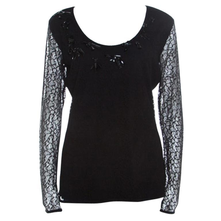 Escada Black Lace Overlay Jersey Crystal Embellished Scoop Neck Erbrou Top M For Sale
