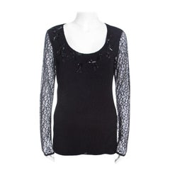 Escada Black Lace Overlay Jersey Crystal Embellished Scoop Neck Erbrou Top S