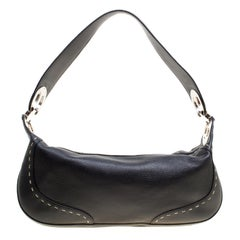 Escada Black Leather Eluna Shoulder Bag