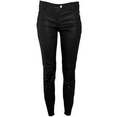 Escada Black Leather Skinny Pants Sz 34