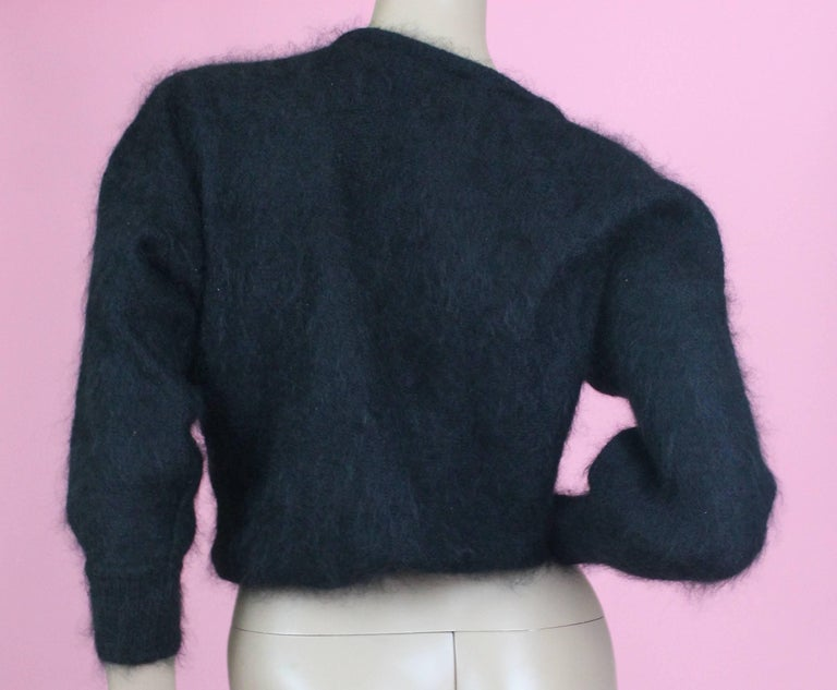 Escada Black Mohair Sweater with Sequins, circa 1980s  In Excellent Condition For Sale In Los Angeles, CA