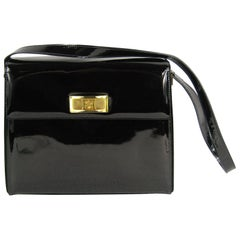 Escada Black Patent Leather Kelly Hand Bag Never Used- With Tags 1990s