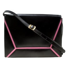 Escada Black/Pink Leather Shoulder Bag