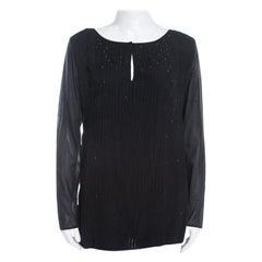 Escada Black Pintucked Pleat Silk Crystal Embellished Long Sleeve Blouse M