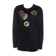 Escada Black Rib Knit Cotton Embellished Clock Applique Long Sleeve Top L
