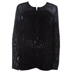 Escada Black Velvet Dobby Sheer Crepe Button Front Blouse M