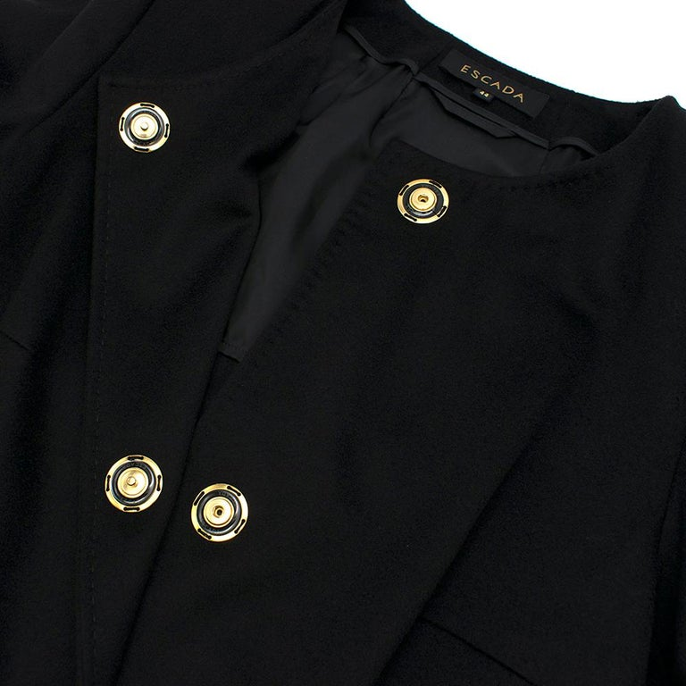 Escada Black Wool Blend Long Coat with Floral Embroidery - Size US 10 For Sale 2
