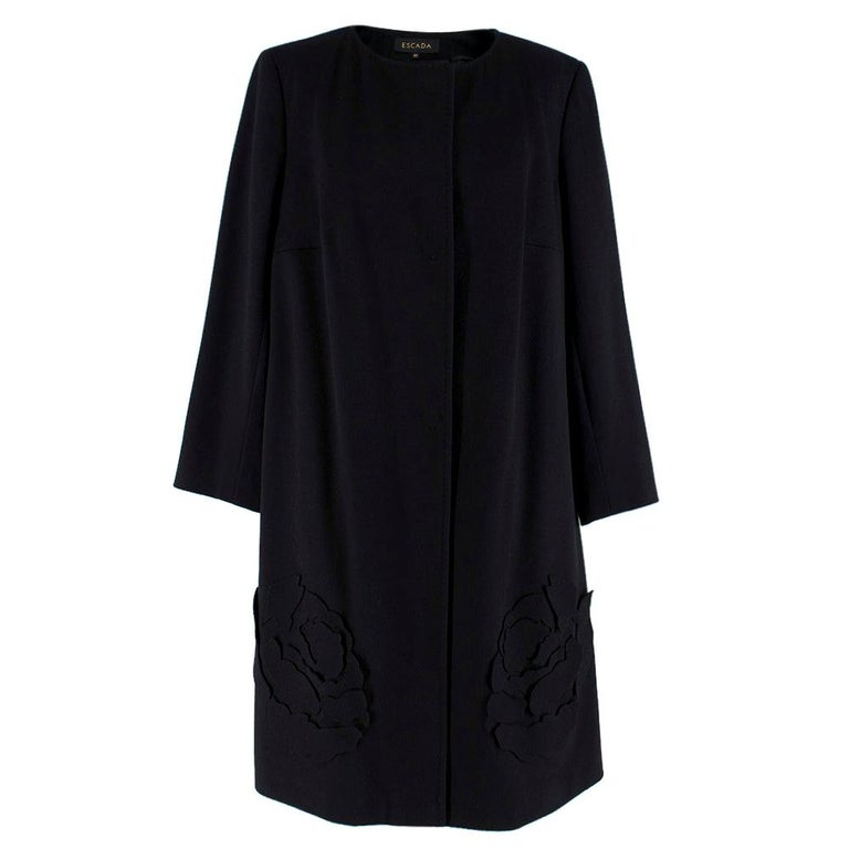 Escada Black Wool Blend Long Coat with Floral Embroidery - Size US 10 For Sale