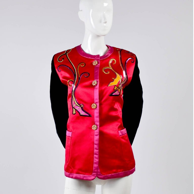 Escada Blazer in Red Black and Pink Novelty Shoe Lover Print 1980s Jacket  For Sale 6