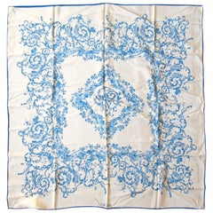 Escada Blue and White Silk Scarf Made in Italy New, Never Worn w/ Tag