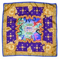 Escada Blue Border, Gold Fringe & Purple Base Celebratory Logo Scarves