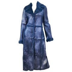 Escada Blue Lapin Long Maxi Coat