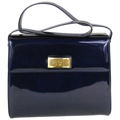 Escada Blue Patent Leather Kelly Hand Bag Never Used Tags Attached 1990s