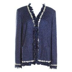 Escada Blue Textured Fringed Edge Button Embellished Boucle Jacket XL