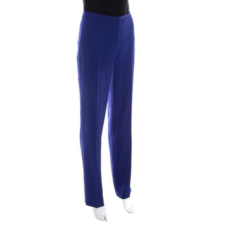 Escada Bluebell Blue Crepe High Waist Tovah Trousers M In New Condition For Sale In Dubai, Al Qouz 2