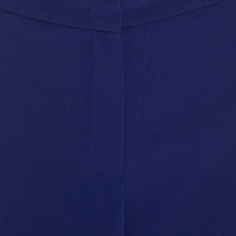 Escada Bluebell Blue Crepe High Waist Tovah Trousers M For Sale 1