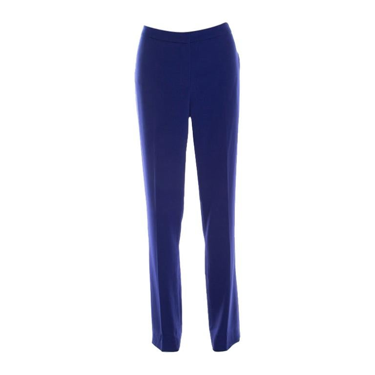 Escada Bluebell Blue Crepe High Waist Tovah Trousers M For Sale