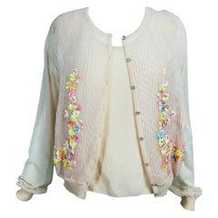Escada Blush Sweater Twin Set Floral Swarovski Crystal Buttons NWT XL