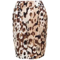 Escada Brown Abstract Camouflage Printed Silk Satin Skirt M