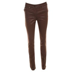 Escada Brown Coated Stretch Denim Straight Leg Jeans S