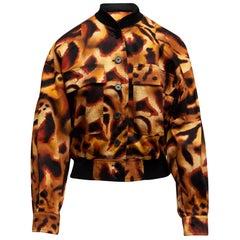 Escada Brown & Multicolor Leopard Print Bomber Jacket