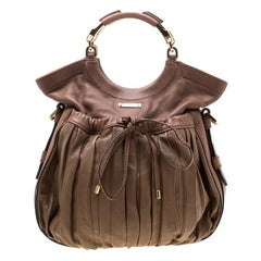 Escada Brown Pleated Leather Hobo