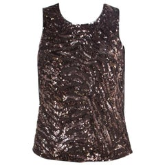 Escada Brown Sequin Embellished Nylon Mesh Sleeveless Top L