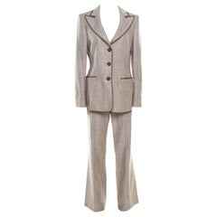 Escada Brown Textured Cotton and Silk Blend Tailored Pant Suit M