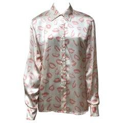 Escada by Margaretha Ley Ivory/Pink Silk Button Up-36