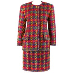 ESCADA c.1990's MARGARETHA LEY Tweed Boucle Multi-Color Jacket Skirt Suit Set