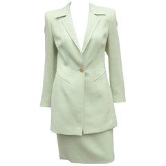 Escada Celery Green Silk & Wool Skirt Suit