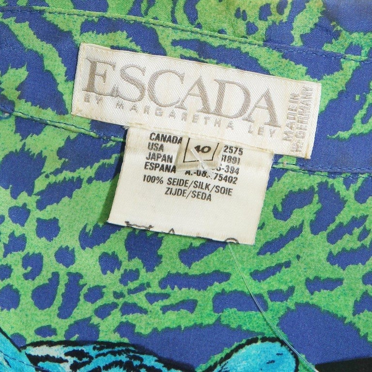 Escada Cheetah Print Blouse Circa 1980's In Good Condition For Sale In Los Angeles, CA