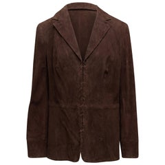 Escada Chocolate Brown Suede Blazer