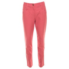 Escada Coral Pink Stretch Denim Teresa Straight Leg Jeans M