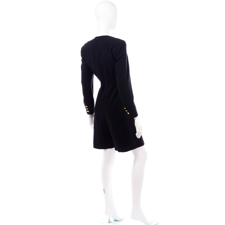 Escada Couture Margaretha Ley Vintage Black Wool Romper Dress Alternative In Excellent Condition For Sale In Portland, OR